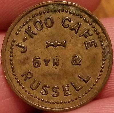 Old Trade Token COVINGTON, KENTUCKY J-KOO CAFE 6TH & RUSSELL Good For 5 CENTS