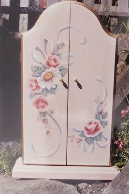 "Kay Ludlow vintage tole painting pattern ""Victorian Roses on Necklace Cupboard"""