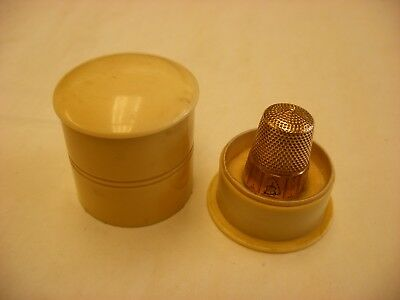 Antique Vintage Sewing Notion - 14K Gold Thimble Size 8 4.4 grams Original Case
