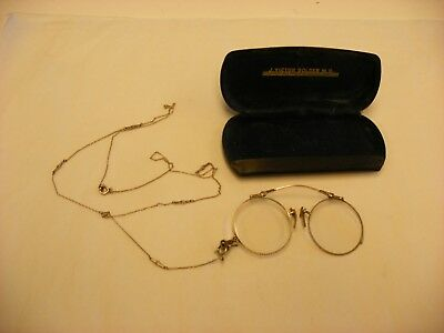 Antique Vtg Pince Nez Pinch Nose Spectacles Eye Glasses W/ Chain Marked 1/10 12K