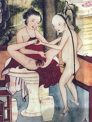 Antique Chinese Rare Old Collectible Handwork Pornography Diagram Painting