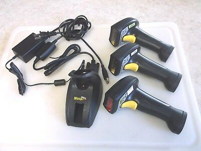 Wasp Wireless Barcode Scanner WWS-800-C (2) WWS-850-L (1) Lot w/ Charger Base