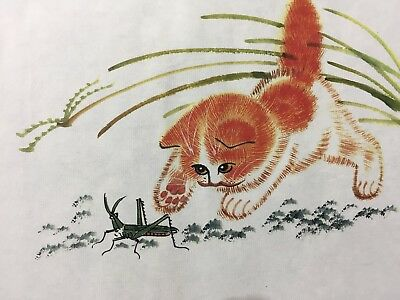Antique Chinese Rare Collectible Handwork Cat Catches Butterflies Painting