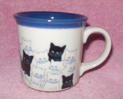 Otagiri Porcelain Embossed Cat Mug Or Cup White Black Blue Mint