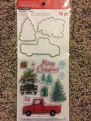 Christmas Truck & Trees Clear Stamp & Die Set by Recollections 564159 NEW