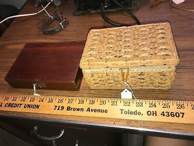 2 vintage sewing box boxes wood wooden + woven wicker antique old