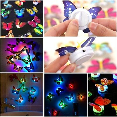 7-Color Changing Butterfly LED Lamp Night Light Home Room Decor Party Kids Gift