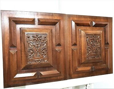 PAIR ARCHITECTURAL GOTHIC SCROLL LEAVES PANEL Antique french carved wood plaque