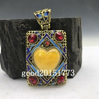 Collection of Chinese Cloisonne pendant inlaid with artificial gemstones.   b786