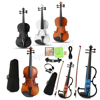 Full Size 4/4 Natural Acoustic Violin Fiddle with Case Rosin Bow New WELL