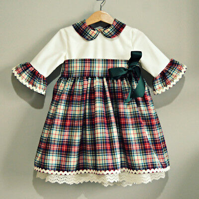 Vintage Toddler Baby Girls Christmas Thaksgiving Flared Lace Party Dress Clothes