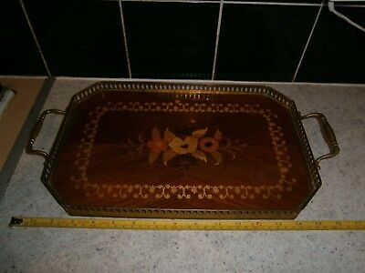 Vintage Sorrento Italian Inlaid Wooden Parquetry Tray Brass Gallery