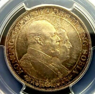PCGS MS64 Secure-Sweden 1907EB Oscar II Silver 2 Kronor Choice BU Scarce