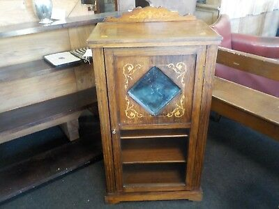 Antique Victorian Rosewood Inlaid Music Cabinet with Small Mirror