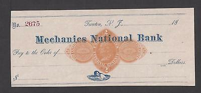 18xx Trenton New Jersey Bank Check RN-D1