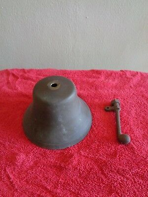Vintage Antique Old Solid Brass Bell Cast Iron Clapper For Parts or Repair