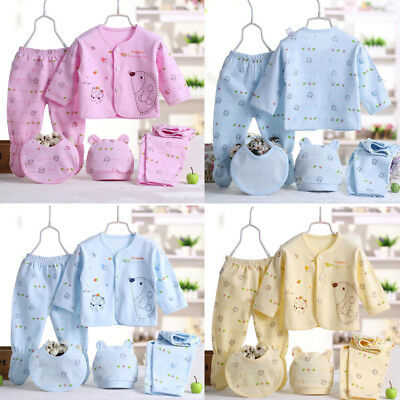5PCS Newborn Baby Boy Girl Cartoon Long Sleeve Tops+Hat+Pants+Bib Outfit Set New