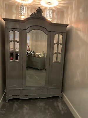 Large Antique French Louis Armoire Wardrobe Mirrored Doors Stunning