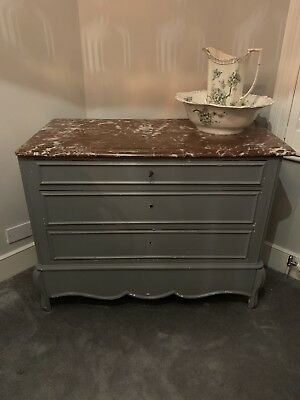 Antique French Style Marble Top Chest Of Drawers Painted Grey