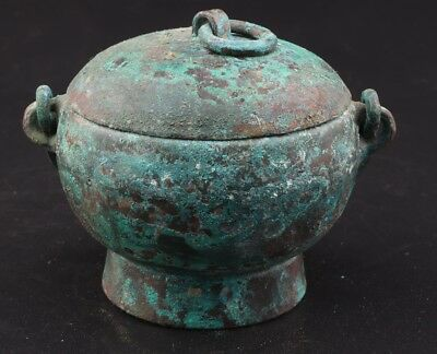 Vintage Chinese Rare Bronze Unique Handmade Carving Jar Old Collection