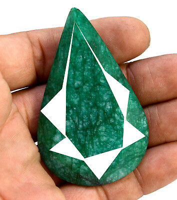 208ct Natural Faceted Pear Shape Dark Green Emerald Loose Gemstone for Pendant