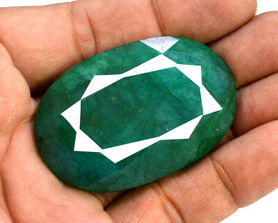 171ct Natural Faceted Oval Cut Green Emerald Loose Gemstone for Pendant Jewelry