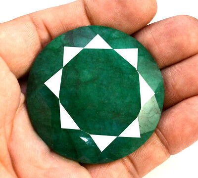 210ct Natural Faceted Round Shape Dark Green Emerald Loose Gemstone for Pendant