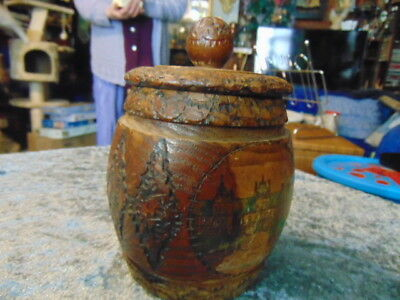 Old Wooden Pot with Lid Fantastic Design Plus Coloured Picture of a Place