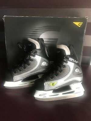 Boys Ice Skates Size 11 Graf Super 1001 Black And Silver