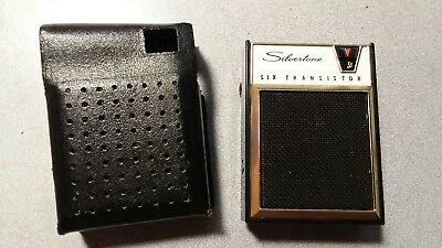 Silvertone 2205 Vintage AM Transistor Radio With Leather Carrying Case - Works!