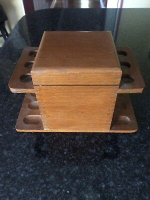 Vintage 6-Pipe Wooden Pipe Holder Stand Tobacco Humidor Storage Box Aztec Clay