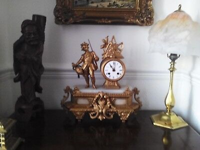 Antique French 8 Day gilt  finish Ormolu Bell Striking Figural Mantle Clock