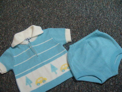 Vintage A Little Angel Original Baby Boy's Outfit Sweater Cars Trees