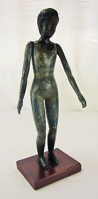 Antique Hand-Carved Wooden Statuette of a Young African Woman on Stand