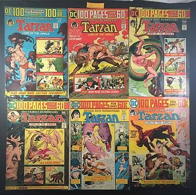 Vintage 1970's DC No. 230 - 235 Tarzan Lord of Jungle 100 Pages Comic 6x LOT (3