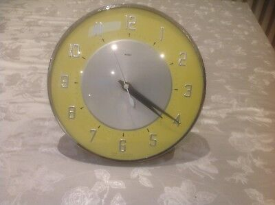 Vintage 1960/70's METAMEC Yellow  Faced Wall Clock Working