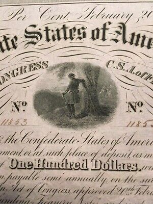 Original Confederate $100 bond Criswell 120, officer leaning against a tree