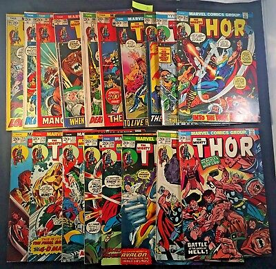 Vintage 1970's Marvel The Mighty Thor Comic Book 18x LOT READ DESCRIPTION (6
