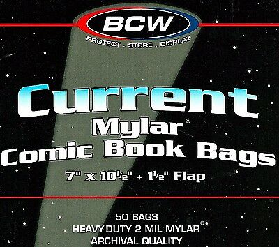 100 BCW Current 2 mil Mylar Bags and Boards Acid Free Store Modern Comic Books