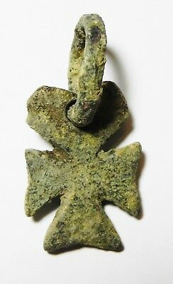 Zurqieh -As8723-  Ancient Holy Land , Byzantine Bronze Cross. 600- 800 A.d