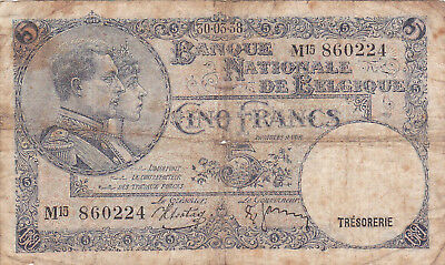 5 Francs Vg Banknote From  Belgium 1938!pick-108!