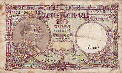20 Francs Vg Banknote From German Occupied Belgium 1944!pick-111