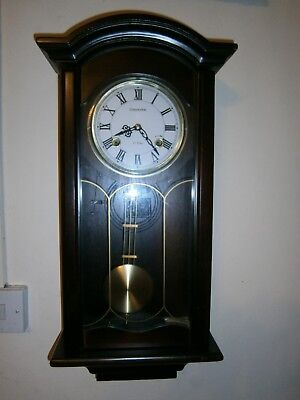 Vintage Commodore 35 Day Wall Clock Chime Pendulum Wood Case