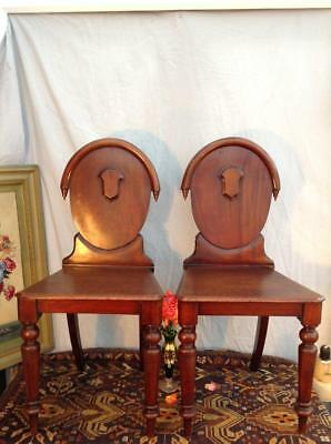 Antique Victorian Mahogany Chapel Chairs Shield Back Hall Chairs x2 Unique Chic