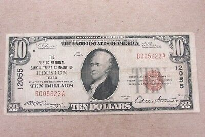 1929 National Banknote $10 Public National Bank & Trust Houston TX CH#12055 *CU