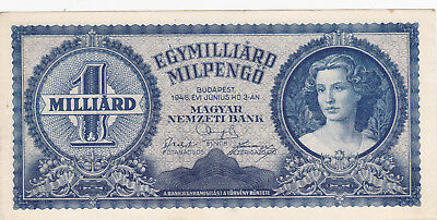 1Milliarde Milpengo From Hungary 1946 Vf+ Banknote!pick-131