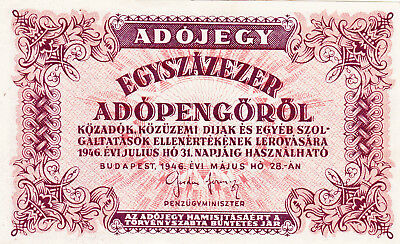 100 000 Tax Pengo From Hungary 1946 Vf+ Banknote!pick-144