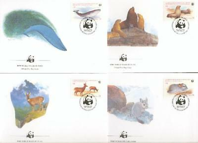 Chile whale Wal seal Robbe deer Hirsch 4 FDC WWF by60