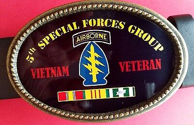 Vietnam Veteran 5th SPECIAL FORCES GROUP Epoxy Belt Buckle - NEW