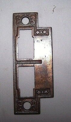 Vintage Mortise bolt lock latch catch strike plate BRASS plated door hardware